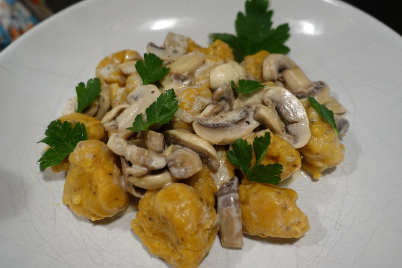 Final dish: Sweet potato Gnocchi with creamy Mushroom Sauce